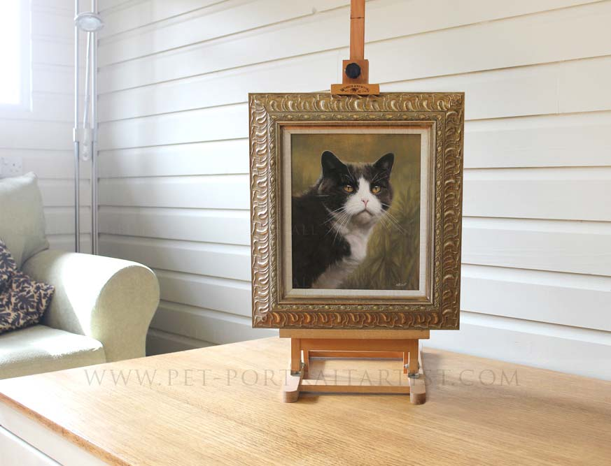 oil painting of Prudy framed by Jane our pet portraits framer