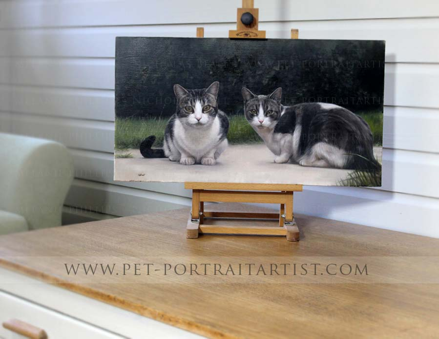 cat portraits on the mini easel