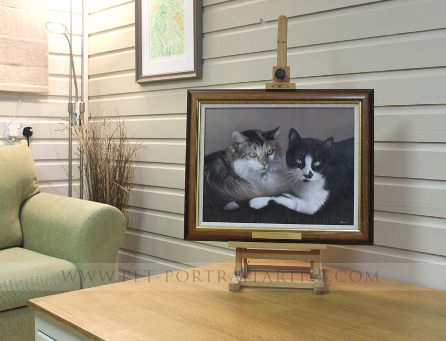Cats Pet Portrait in Oils Framed on the Mini Easel