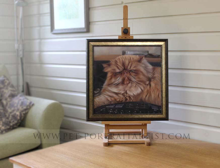 Oil Cat Portraits Framed on the Mini easel